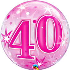 40th Pink Stars Bubble Balloon